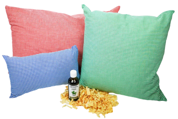 Exclusive feelgood combi - 3 Stone pine cushions (30x20 + 40x40 + 60x40 cm) + 100 ml stone pine oil